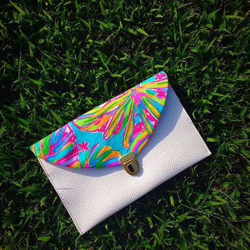 Custom Lilly Pulitzer Summer Haze Envelope Clutch Crossbody Purse made with Lilly fabric perfect for back to school