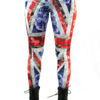 British Floral Flag Leggings