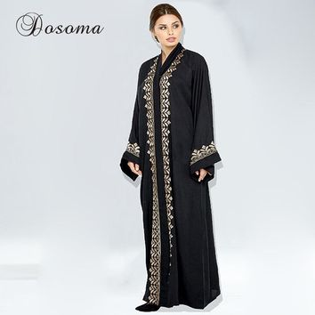 Muslim Maxi Dress Open Abaya Print Cardigan Jilbab Long Robe Gowns Loose Style Plus Size Middle East Arab Dubai Islamic Clothing