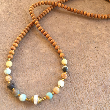 "Sandalwood and Matte Amazonite ""Healing and Communication"" 108 Bead Mala with A Tibetan Pearl Guru Bead"