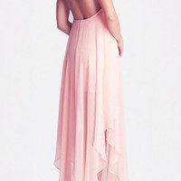 Blush Chiffon Halter Backless Ruffled Maxi Dress with Slit