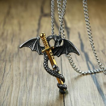 "Pterosaur Gold Tone Sword Pendant Necklace for Men Stainless Steel Dragon Punk Game of Throne Vintage Male Jewelry 24"" Chain"
