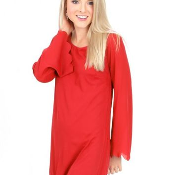 Hey Pretty Girl Red Scalloped Shift Dress | Monday Dress Boutique