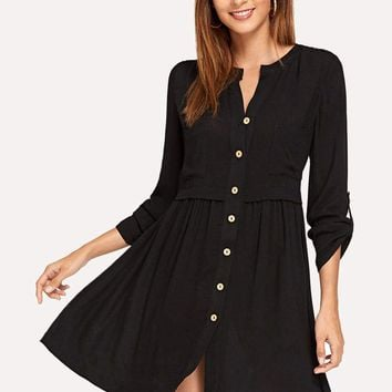 Button Front Roll Up Sleeve Dress