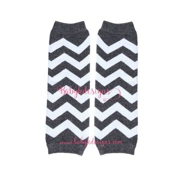 Baby Boys Girls Dark GRAY Leg Warmers. Baby Legwarmers.Grey n White Chevron Unisex Legwarmers / Halloween Costume / Teen Arm Warmer Socks
