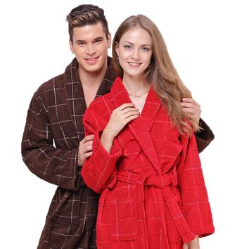 Cotton bathrobe men nightgown XL women pajamas long thick soft blanket towel fleece robe home hotel summer winter