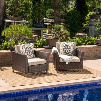 Grady Outdoor Aluminum Framed Mix Brown Wicker Club Chairs (Set of 2)