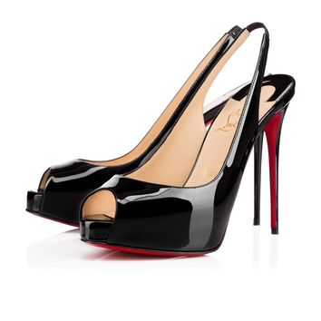Best Online Sale Christian Louboutin Cl Private Number Black Patent Leather 120mm Stiletto Heel Ss15