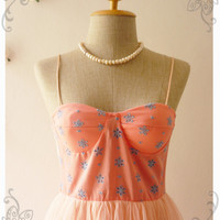 Darling Bustier Tunic Length Bustier Dress Peach Pink Lace with Tutu See Through Top Summer Floral Bustier - Size XS-S