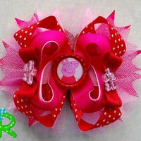 peppa pig ott bow, cute boutique hair bow, peppa stacked bow for girls