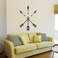 Crossed Arrows Wall Design - Arrow Vinyl Decal (Interior & Exterior) Bedroom Wall Decor, Indie / Boho Decor, Feather Arrow, Tribal Design