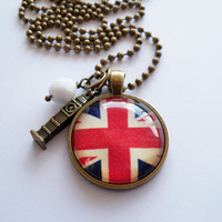 Union Jack Flag - Pendant Necklace - Great Britain - British Flag - Custom Jewelry - Travel Necklace - You Choose Bead and Charm - England