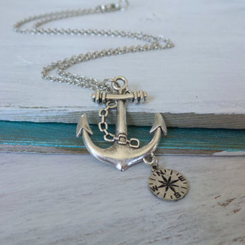 Anchor Compass Necklace by SBC, Antique Silver Anchor, Antique Silver Chain, Nautical Necklace, Lost at Sea Necklace, Compass Necklace, Ahoy