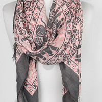 Elephant Print Grey and Pink Scarf