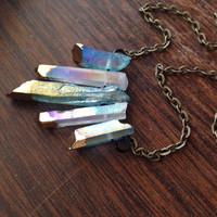 Blue Aura Quartz Crystal Necklace Aqua Aura Crystal Healing Crystals and Stones Aura Quartz Rainbow Crystal Pendant Gold Dip Crystal