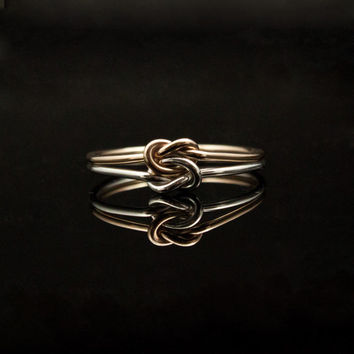 Silver and Gold double knot ring. Duo, two tone twotone 14K Gold Sterling Silver. Solid gold, promise ring, sister ring, commitment ring.