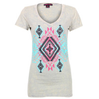 Rock & Roll Cowgirl Women's Aztec Print Tee