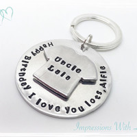Hand Stamped Daddy, Uncle, Grandad Personalised message Keyring Keychain - Fathers Day, Gift for Him