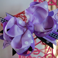 Boutique Hair Bow Layered Bow Lavender and black by KCCoutureGirl