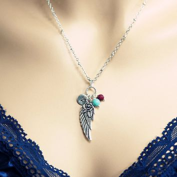 Angel Wing Necklace - Personalized Initial Turquoise Necklace Ruby Birthstone Necklace Personalized hand stamped tags charm I can fly