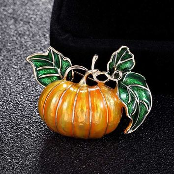 Zlxgirl jewelry pumpkin brooches for Women Kids Christmas gifts hats accessories metal alloy Yellow Enamel pin brooch bouquet