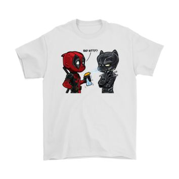 QIYIF Marvel Deadpool And Black Panther Bad Kitty Shirts