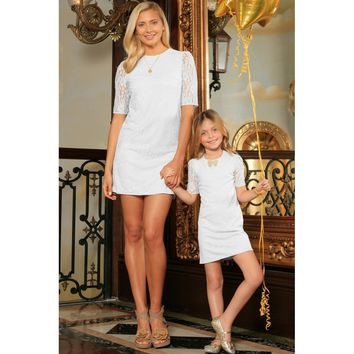 White Stretchy Lace Elbow 3/4 Sleeve Shift Party Mother Daughter Dress