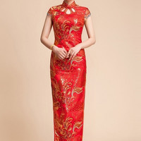 Embellished Phoenix Lace Chinese Wedding Qipao