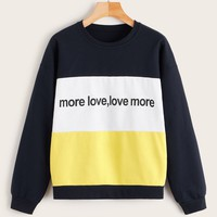 Cut And Sew Letter Print Sweatshirt