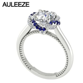Fine Jewelry Classic 2CT Moissanites Diamond Gold Engagement Ring Natural Blue Sapphire Solid 14K Gold Lab Grown Diamond Ring
