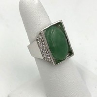 Vintage 14k white gold Jadeite Jade Diamond Men's Ring