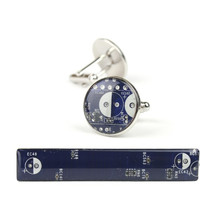 Royal Blue Circuit Board Cuff Links & Tie Bar Set Palladium