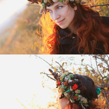 Woodland Tiara Crochet Headband with Horns Wreath forest Nymph Queen Autumn Crown Accessory for Photoshoot with Antlers wreath of mistletoe