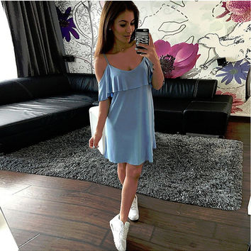 Cold Shoulder Short Sleeve Dress with Frill