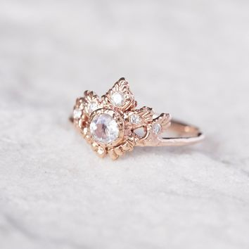 Free People 14K Rapture Moonstone x Diamond Ring