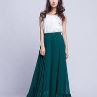 High Waist Bridesmaid Skirt Chiffon Maxi Skirts Beautiful Elastic Waist Summer Skirt Floor Length Women Skirt (301) ,77#