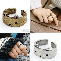 New Retro Vintage Cute Lovely Bear style Ring 2 colors