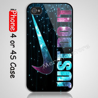 New Just Do It  Sparkle Custom iPhone 4 or 4S Case Cover