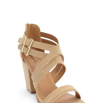 Qupid Strappy Faux Nubuck Leather Heels