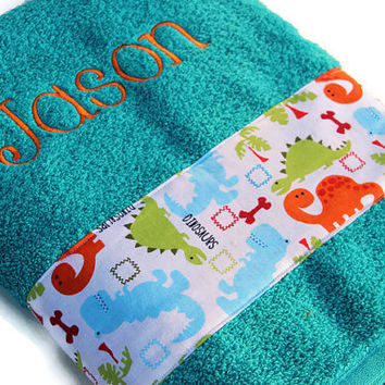Personalized Bath Towel, Custom Towel, Dinosaur Towel, Embroidered Towel, Bath Towel, Bathroom, Boy Towel