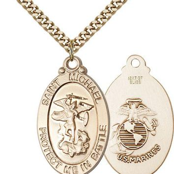 14K Gold Filled St Michael Marines Military Soldier Catholic Medal Necklace 617759076264
