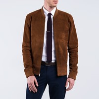 Bomber Jacket - Brown Suede