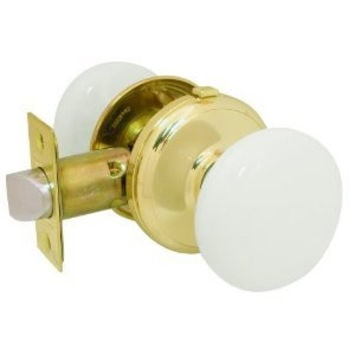 Gainsborough GENUINE PORCELAIN Door Knob Set (LOCKING Bed & Bath WHITE Porcelain & BRASS)