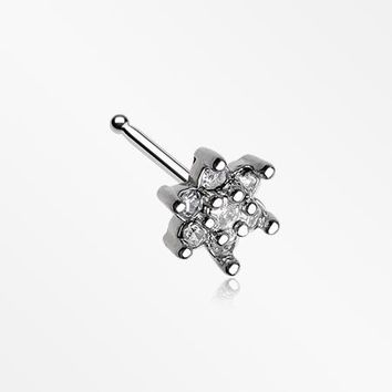 Spring Flower Sparkle Prong Set Nose Stud Ring