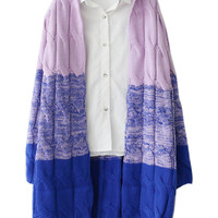 Purple Dip Dye Contrast Chunky Cable Open Front Cardigan