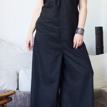 Handmade Open Back Jumpsuit / V Neck Line Jumpsuit / Black Linen Fabric / Wide Legs / Oversize Comfy Jumper