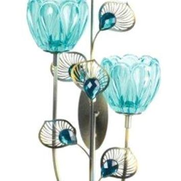 Cast Iron Peacock Blossom Duo Cup Sconce