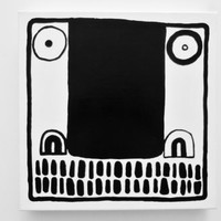 Original Abstract Painting on Canvas FACE Black White Urban Painting Geometric Art Modern Face Painting Crazy Art Weird Art Weird Painting