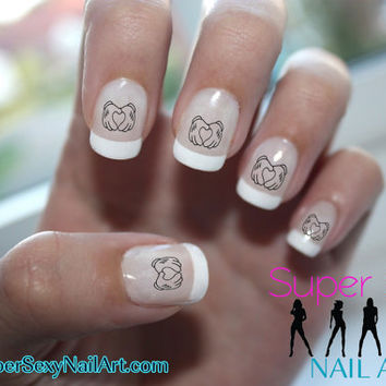 Mickey Mouse Hands Heart Valentines Disney Nail Art Water Transfer Decal - Waterslide Paper - Water Slide Paper