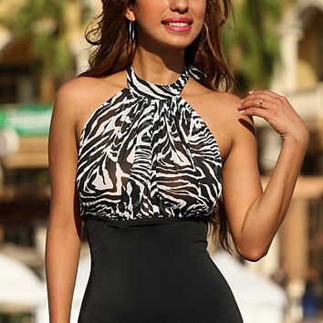UjENA New 2015 Collection Sheer Zebra Fatale 1-PC W103 Draped pleated front Sheer Zebra front One Pieces Swimwear Women's Swimsuit